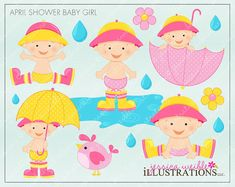 April Shower Baby Girl Cute Digital Clipart for by JWIllustrations