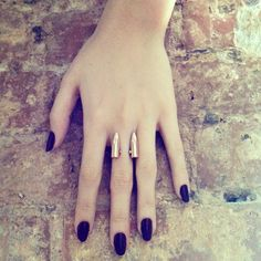 Double bullet ring a d dark nails! By Bobby Pin Jewelry #jewelry #handmade #bullets #ring