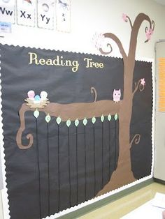 Themed Classroom Decor Accelerated Reader bulletin board from Mrs. Sheehan at Learning in WonderlandAccelerated Reader bulletin board from Mrs. Sheehan at Learning in Wonderland Classroom Tree, Owl Theme Classroom, Classroom Setup, Classroom Displays, Kindergarten Classroom, Future Classroom, Classroom Teacher, Classroom Environment, Classroom Crafts