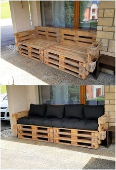 What Can You Make with Wood Pallets? Easy Projects You will probably be finding this creation of wood pallet so eye-catching and peacefully attractive looking. Well, this creation is dedicatedly designed in the artistic. Wood Pallet Couch, Wood Pallet Furniture, Diy Furniture Couch, Diy Furniture Plans, Furniture Projects, Living Room Furniture, Wood Pallets, Rustic Furniture, Furniture Layout