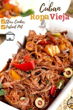 Cuban Ropa Vieja, the popular national dish of Cuba, is made with flank steak braised in a flavorful sauce made with bell peppers, onions and briny pimento stuffed olives. It is then shredded into long strands and served over rice. This Ropa Vieja recipe is made effortlessly in the slow cooker/crock pot. Instant Pot/Pressure Cooker instructions included as well.