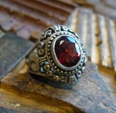 Sterling silver antique garnet stone ring - vintage garnet stone ring. $110.00, via Etsy.