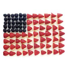 Fruit Flag  For ultimate freshness, prepare this treat right before serving. Present it with toothpicks for spearing the fruit and a bowl of your favorite dip, if desired.  What you'll need 29 large strawberries 30 large blackberries 7 or so large bananas Lemon juice