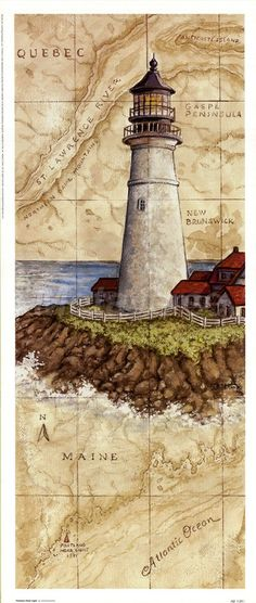 Vintage card light house / B.