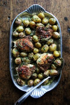 With five minutes of prep you can have this one-pan chicken with potatoes and tarragon ready for the oven.
