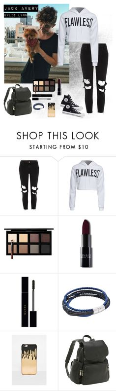 """jack Avery"" by kylielynn30 ❤ liked on Polyvore featuring River Island, WithChic, Down to Earth, Gucci, Tateossian, Missguided, Converse and Le Donne"
