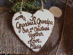 Grandparents First Christmas Grandma and Grandpa's Ornament Holiday New Baby Personalized gift by PrinceWhitaker