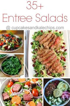 35+ Entree Salads - topped with beef, pork, chicken, seafood, or just tons of fruits and veggies, this is the best collection of salad recipes for easy summer dinners! | cupcakesandkalechips.com