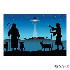 Easily set the scene for your church's next nativity play! This beautiful banner shows two shepherds overlooking a starry Bethlehem as Jesus is born. ...