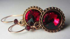Swarovski Garnet Red Earrings Swarovski Deep Red by NataliaKh, $20.77