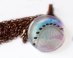 Real Glass London Necklace London Eye Pastel by HConwayPhotography, $20.00