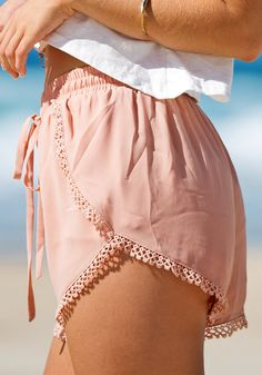 Dolphin shorts with crochet hem