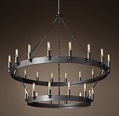 Camino Vintage Filament Two-Tier Chandelier Circle Chandelier, Entry Chandelier, Wheel Chandelier, Industrial Chandelier, Outdoor Chandelier, Ceiling Chandelier, Vintage Chandelier, Modern Chandelier, Family Room Chandelier