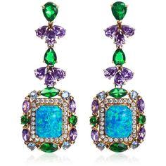 ANABELA CHAN Opals Deco Earrings ($11,945) ❤ liked on Polyvore featuring jewelry, earrings, blue, clip post earrings, opal jewellery, blue clip on earrings, baguette earrings y clip earrings