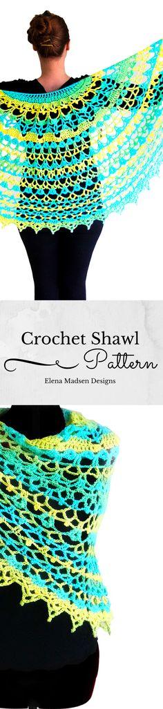 Crochet shawl pattern. Crescent shaped beautiful crochet shawl pattern with summer vibes. Fully written. Beatiful! :-)