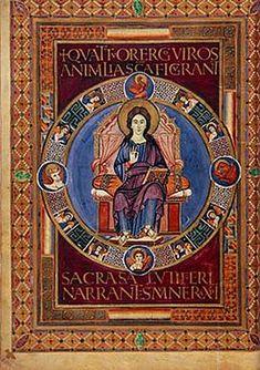 Carolingian art Codex Aureus of Lorsch  8th Century fol 72v