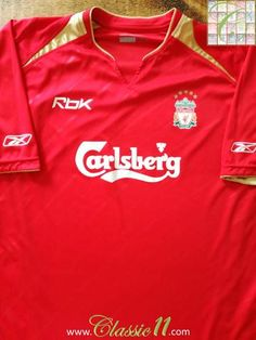 Official Reebok Liverpool European football shirt from the 2005 2006  season. Fútbol Europeo 9d2a2293c5f54