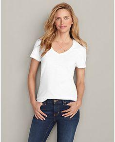 Essential Slub Short-sleeve V-neck T-shirt | Eddie Bauer