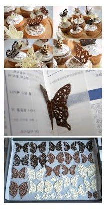 how to make chocolate butterflies, how to make chocolate butterflies for cake, how to make chocolate butterfly buns, make chocolate butterfly cakes. how to make chocolate butterfly cake decorations Chocolate Garnishes, Chocolate Bowls, Chocolate Art, How To Make Chocolate, Chocolate Designs, Chocolate Shapes, Cake Decorating Videos, Cake Decorating Techniques, Cookie Decorating