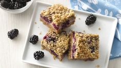 Fresh blackberries, Yoplait Greek yogurt and Oatmeal cookie mix come together in these crumble bars that are baked to perfection - a tasty dessert.