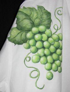 hand painted shirt, green grapes