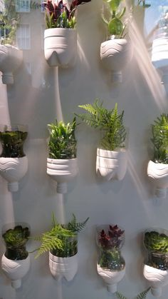 Easy DIY, just save plastic bottles and white paint (voor kruidenplantjes buiten? Garden Yard Ideas, Garden Crafts, Garden Projects, House Plants Decor, Plant Decor, Vertikal Garden, Vertical Garden Design, Recycled Garden, Bottle Garden