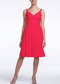 Short, airy and chic, your bridesmaids will look amazing in this spectacular dress!  Ultra-feminine v-neckline and sleeveless ruched bodice is figure flattering.  Flowy comfortable chiffon hits right above the knee.  Fully lined. Back zip. Imported polyester. Dry clean.  To protect your dress, try our Non Woven Garment Bag.