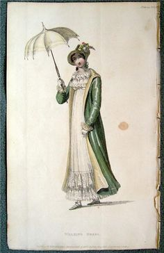 Ch A new walking dress of French cambric trimmed with broad lace, No. 77 of R. Ackermann's repository of arts & publ. 1 May 1815 Historical Costume, Historical Photos, Rey George, Beach Costume, English Monarchs, Regency Era, Regency Dress, Vintage Outfits, Vintage Fashion