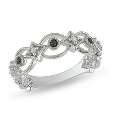 84.15$ 1/6 CT. T.W. Enhanced Black and White Diamond Band in Sterling Silver - Zales
