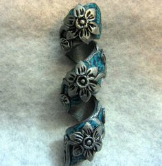 Dread Bead Silver Flowers on Faux Turquoise by LuvingYourLocks