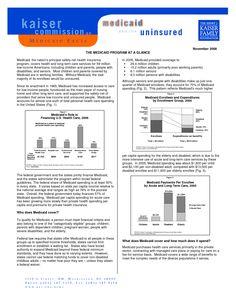 THE MEDICAID PROGRAM AT A GLANCE - Fact Sheet