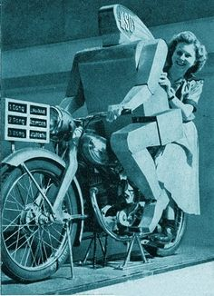 1950 – N.S.U. Motor Company Motorcycle Robot Driver (German) ~ The N.S.U. robot gave an actual demonstration of the manufacturer's motorcycle.