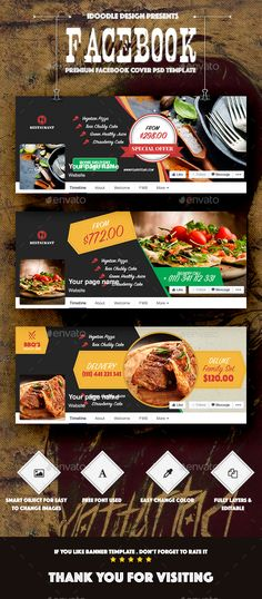 Food & Restaurant Facebook Covers  PSD Template • Download ➝ https://graphicriver.net/item/food-restaurant-facebook-covers-/13542586?ref=pxcr