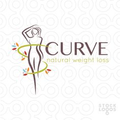 Logo Sold Beautiful women figure pose representing weight loss and healthy dieting. A simple natural vine is wrapping around the figure with natural leafs growing to emphasize the natural component.