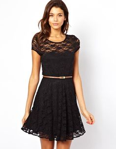 Image 1 of ASOS Lace Skater Dress With Short Sleeves and Belt