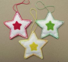 Set of 3 Christmas star decorations. Red green and by SewGifted, £9.00