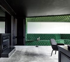 A zigzag canopied banquette in tufted green velvet practically oozes opulence inside Vicland Property Group's Melbourne office by @TravisWalton_Architecture. : @Derek_Swalwell. @sandow... - Interior Design Ideas, Interior Decor and Designs, Home Design Inspiration, Room Design Ideas, Interior Decorating, Furniture And Accessories