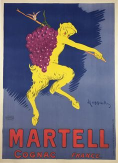 Cognac Martell by Leonetto Cappiello original vintage poster from 1905 France. French wine and spirits advertisment features a yellow satyr (half man, half goat) carrying a bunch of grapes.