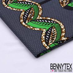 Wax Africain N°114 : Motif Feuilles vertes et Marron Fond Marine Mon Cheri, Ankara Fabric, Printing On Fabric, Creations, Fabrics, Textiles, Couture, Bracelet, Art