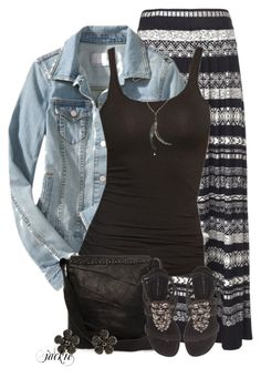 """Denim Jacket and Maxi Skirt"" by jackie22 ❤ liked on Polyvore"
