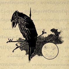 Raven Bird on Weathervain with Moon Digital Printable Download