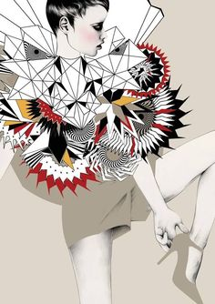 Hier is zie je geometrische vormen en organische vormen. Het is een beetje driedimensionaal, omdat de arm verder lijkt dan de rest van het lichaam en ook de 'versiering/details' bij de bovenkant van haar lichaam lijkt verder dan de rest van haar lichaam. Ook zie je hier duidelijk het contrast tussen de organische vormen en geometrische vormen.