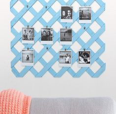 Display memories on this easy-to-make lattice photo display! For more DIY ideas, visit instagram.com/loweshomeimprovement