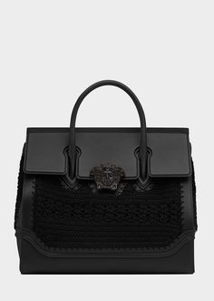 Large Crochet Palazzo Empire Bag from Versace Women's Collection. Large  Palazzo Empire dual-carry style bag in fine metallic calf leather, with  crochet mesh ...