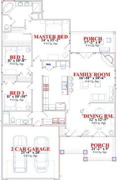 Cottage Style House Plan - 3 Beds 2.00 Baths 1730 Sq/Ft Plan #63-134 Floor Plan - Main Floor Plan