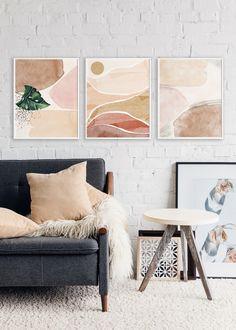 Gold Wall Decor, Neutral Walls, Orange Art, Gold Walls, Home Printers, Free Prints, Wall Art Sets, Modern Prints, Abstract Wall Art