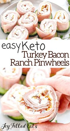Turkey Bacon Ranch Pinwheels are a crowd-pleasing, five-minute prep appetizer. My kids gobbled these easy turkey pinwheels up when I made them for a party recently. They have a lot of flavor with only a little bit of effort. I sliced these and serve on cucumber slices. You can serve on low carb crackers if you prefer. You can sub in any deli meat of your choice! Multiple flavor possibilities! This easy recipe is low carb, keto, gluten-free, grain-free, sugar-free, Healthy Low Carb Dinners, Low Carb Dinner Recipes, Low Carb Desserts, Healthy Low Carb Meals, Easy Low Carb Recipes, Healthy Low Carb Snacks, Low Carb Diets, Low Carb Lunch, Stay Healthy