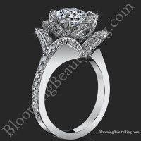 The Crimson Rose 1.58 ctw. Rose Cut Flower Diamond Engagement Ring<br>$3500</br>