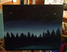 Night sky acrylic original painting on canvas with Virgo constellation