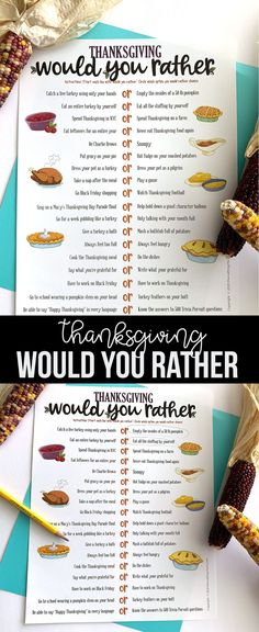Need a fun game to play around your Thanksgiving table? Our Thanksgiving Would You Rather Free Printable Game will have everyone laughing. #thanksgiving #thanksgivinggame #thanksgivingprintablegame #thanksgivingfreeprintable Thanksgiving Bingo, Thanksgiving Crafts, Diy And Crafts Sewing, Diy Crafts For Kids, Party Printables, Free Printables, Would You Rather Game, Craft Party, Halloween Kids